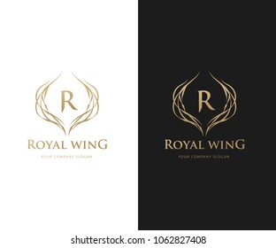 Royal Wing Logo design with R letter and wing symbol.