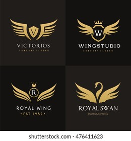 Royal wing Luxury logo set