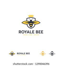 Royale Bee logo designs template, Honey Shield logo template designs