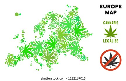 Royalty free cannabis Europe map composition of weed leaves. Template for narcotic addiction campaign against drugs dependence or cannabis legalize.