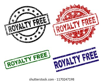 ROYALTY FREE seal prints with damaged surface. Black, green,red,blue vector rubber prints of ROYALTY FREE text with corroded style. Rubber seals with round, rectangle, medallion shapes.