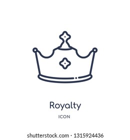 royalty icon from shapes outline collection. Thin line royalty icon isolated on white background.
