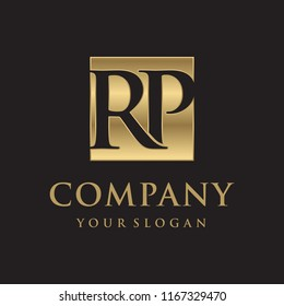 RP initial letters looping linked box elegant logo golden black background