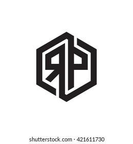 RP initial letters looping linked hexagon monogram logo