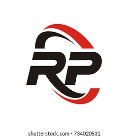 RP logo initial letter design template vector with swoosh around the logo