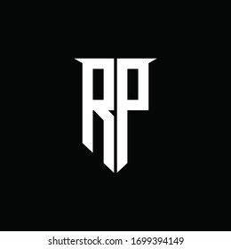 RP logo monogram with emblem shield style design template
