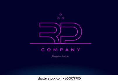 rp r p letter alphabet text pink purple dots contour line creative company logo vector icon design template