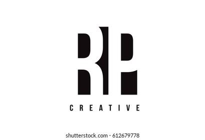 RP R P White Letter Logo Design with Black Square Vector Illustration Template.