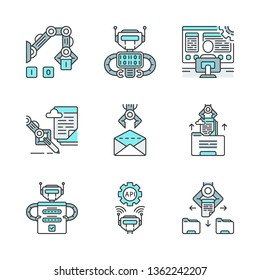 RPA color icons set. Robotic process automation benefits. Development and using clerical process automation technology. Automate workflows. Isolated vector illustrations