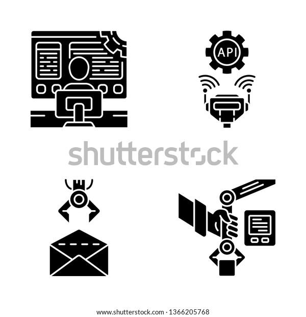 Rpa Glyph Icons Set Robotic Process Stock Vector (Royalty