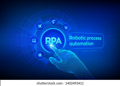RPA Robotic process automation innovation technology concept on virtual screen. Wireframed robotic hand touching digital graph interface. AI. Artificial intelligence. Vector illustration.