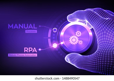RPA Robotic process automation innovation technology concept. Wireframe hand turning a knob and selecting RPA mode. Intelligent system automation. AI. Artificial intelligence. Vector illustration.