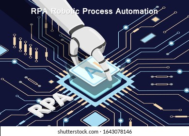 RPA Robotic Process Automation. Printed circuit board. Microchip. The robot installs a microprocessor on the board. Vector illustration.