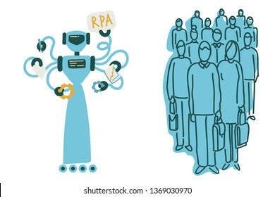 RPA. Robotic process automation, robot and human rivalry, unemployment. Vector illustration