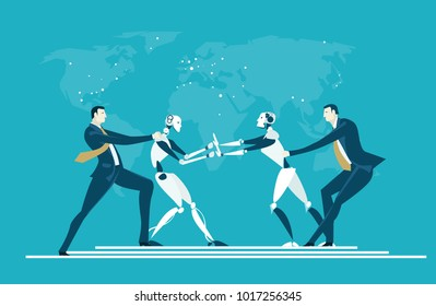 RPA Robotic progress automatisation concept illustration. Humans vs Robots. Human and robot fighting for the managing position