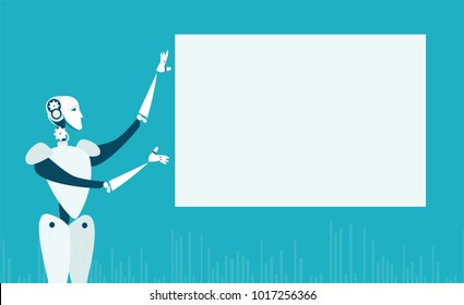 RPA Robotic progress automatisation concept illustration. Robot in front of white screen