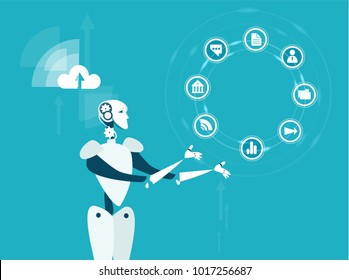 RPA Robotic progress automatisation concept illustration. Robot rotating communication icons