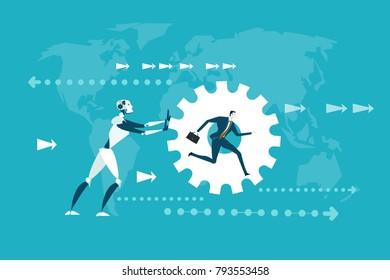RPA Robotic progress automatisation concept illustration. Human vs Robot. Robot rolling gear with running human inside