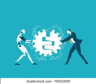 RPA Robotic progress automatisation concept illustration. Human vs Robot. Human and robot fighting for the managing position
