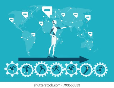RPA Robotic progress automatisation concept illustration. Human vs Robot. Robot pointing the right direction for business development