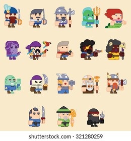 RPG Adventure Mobile Tablet PC Web Game Screen Concept Characters Flat Design Cartoon Magic Fairy Tail Icon Vector illustration