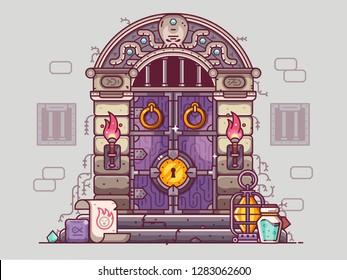 Rpg dungeon door with burning torches and golden door knob. Fantasy gaming concept with medieval closed doorway, bars on windows and stone steps with oil lamp, magical scroll, runes, gems and potion.