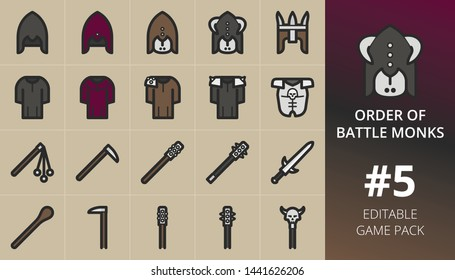 RPG game icons set. Set of weapons, battle monks, king helmet, robe armour, skull armor, staff warrior, club weapon, two handed cudgel, legendary sword, two handed. Editable RPG game items pack