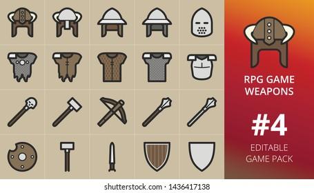 RPG game weapons and armour items set.Set of war hammer, crossbow, morningstar weapon, armor, horned helmet, guard, boss, skull mace. Editable RPG game items pack