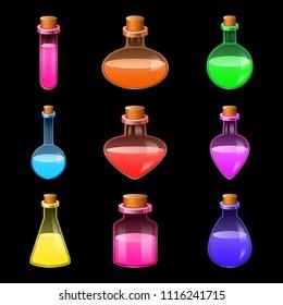 Rpg potion magic bottle icons set. Realidtic illustration of 9 rpg potion magic bottle vector icons for web