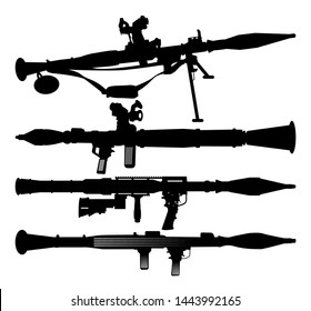 RPG  Rocket Launcher Vector illustration silhouettes