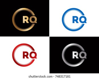 RQ  Letter logo Design in a circle. Blue Red and silver gold colored