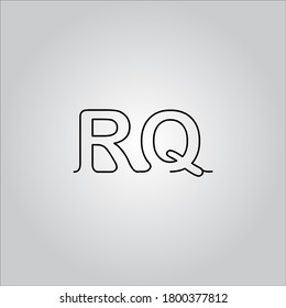 RQ letter logo with nice white gradient background.The black letter icon.
