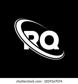 RQ logo. R Q design. White RQ letter. RQ/R Q letter logo design. Initial letter RQ linked circle uppercase monogram logo.