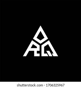 RQ monogram logo with 3 pieces shape isolated on triangle design template