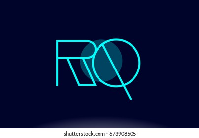 rq r q blue line circle letter logo alphabet creative company vector icon design template