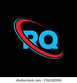 RQ R Q letter logo design. Initial letter RQ linked circle uppercase monogram logo red and blue. RQ logo, R Q design. rq, r q