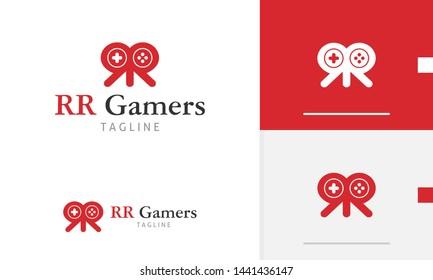 RR Gamers logo design concept, double R icon design, gamers design concept, joystick button design