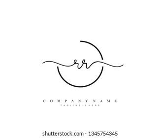 RR initial handwriting logo template vector