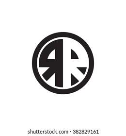 RR initial letters circle monogram logo