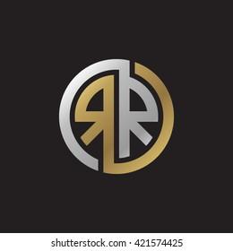 RR initial letters looping linked circle elegant logo golden silver black background
