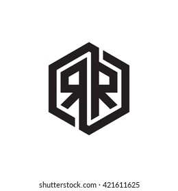 RR initial letters looping linked hexagon monogram logo