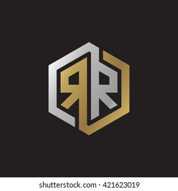 RR initial letters looping linked hexagon elegant logo golden silver black background