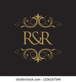 RR Initial logo. Ornament ampersand monogram golden logo black background