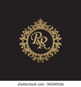 RR initial luxury ornament monogram logo