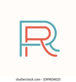 RR Letter Initial Monogram Logo Design Emblem Template. Thin Line Stroke Minimal Geometric Concept.