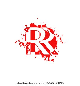 RR Letter Splatter logo.  Abstract Design concept blood splash  with hidden letter double R logo icon for initial, company identity and more brands.