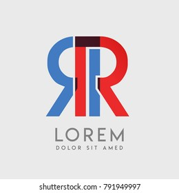 """RR logo letters with """"blue and red"""" gradation"""