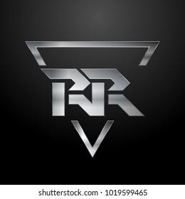 RR Logo, Metal Logo, Silver Logo, Monogram, Polygon