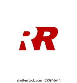 RR negative space letter logo red