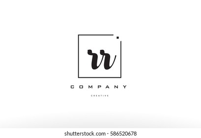 rr r hand writing written black white alphabet company letter logo square background small lowercase design creative vector icon template